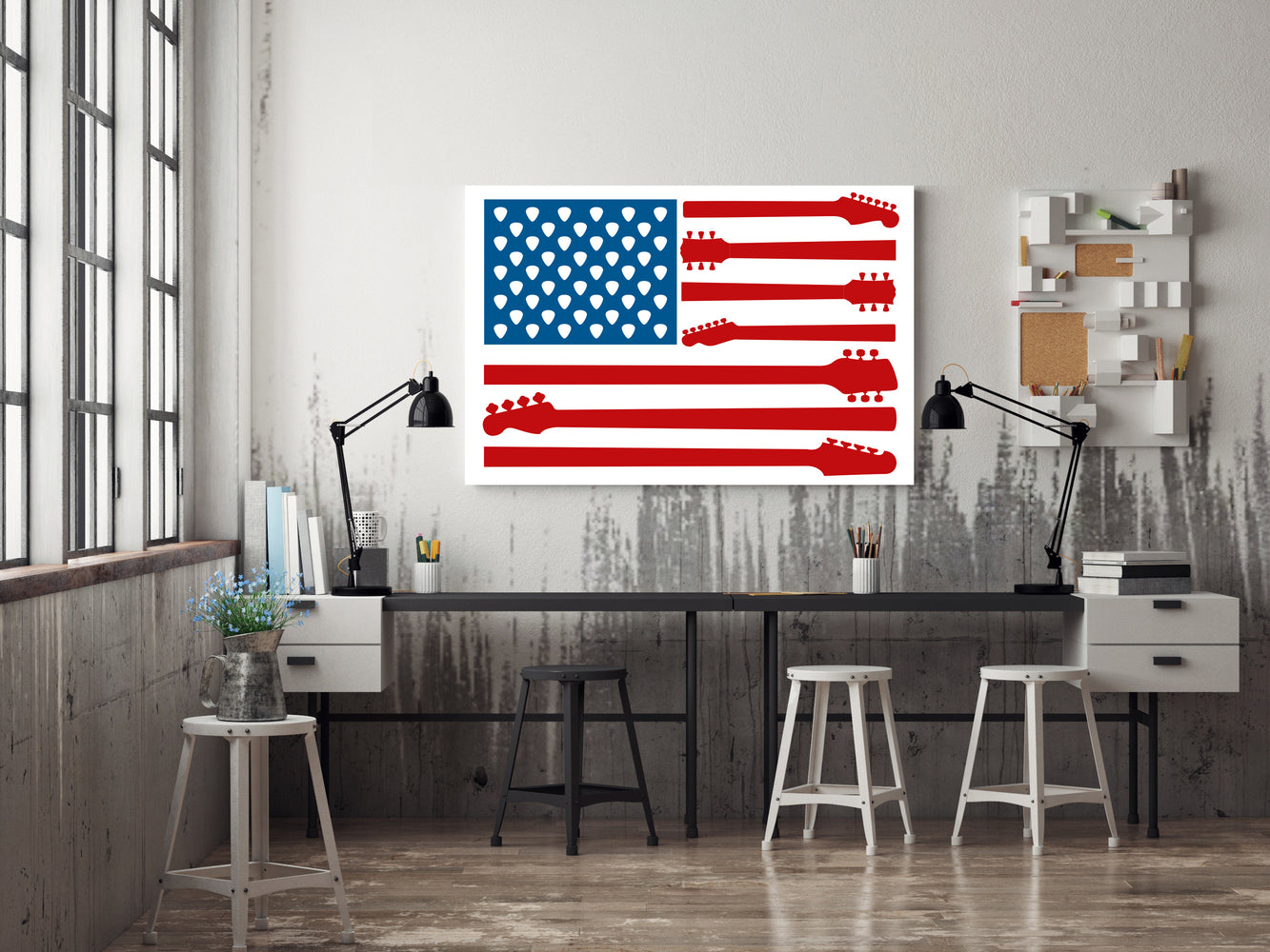 American Flag with Guitars and Picks Poster Print