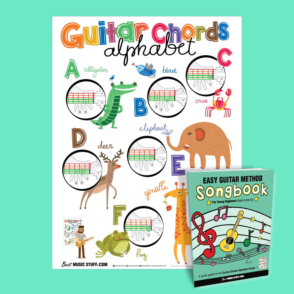 guitar chords alphabet poster with easy guitar method songbook for kid best music stuff. Black Bedroom Furniture Sets. Home Design Ideas