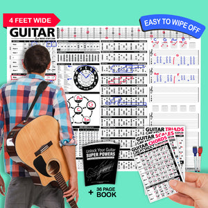 The Creative Guitar Poster (Dry-Erase) + Unlock Your Guitar Super Powers (Book) + Guitar Cheatsheets Bundle