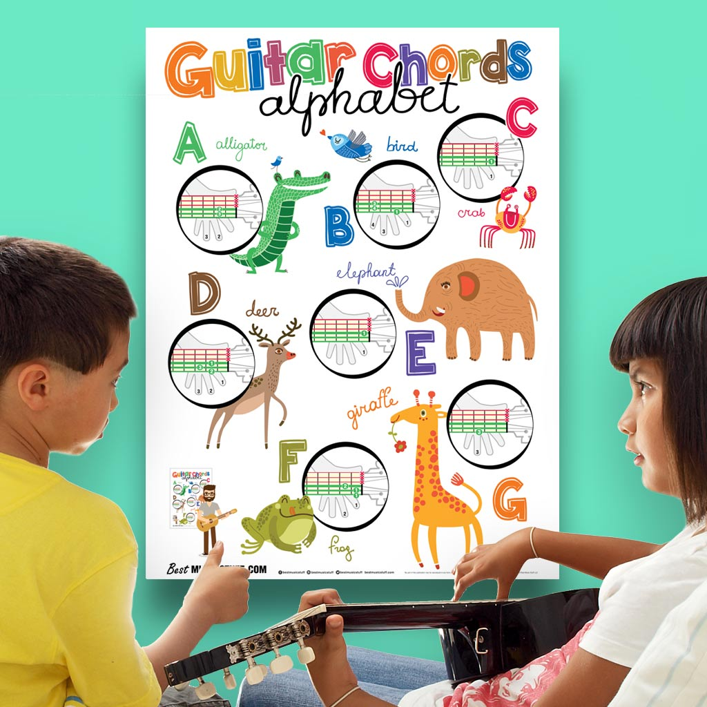 Guitar Chords Alphabet Kids Poster 19x27book Not Included Best