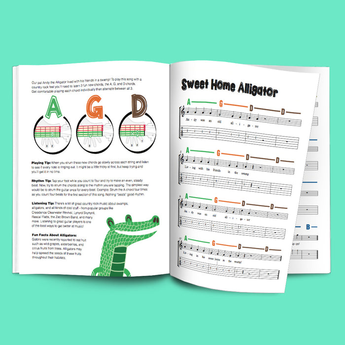 Guitar Chords Alphabet Poster with Easy Guitar Method Songbook for Kids