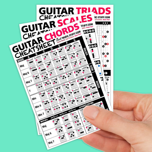 Popular Guitar Scales Reference Poster + Guitar Cheatsheet Bundle