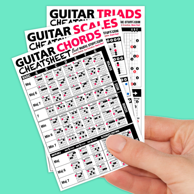 "Guitar Cheatsheet Bundle Pocket Reference 3 PACK (Laminated & Double Sided) 4"" x 6"""