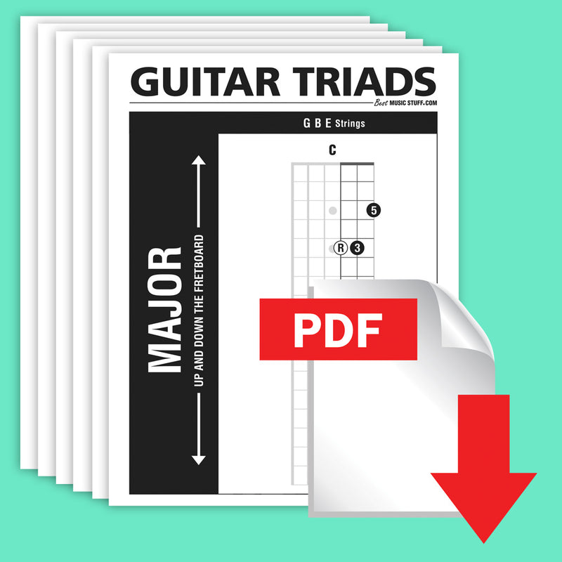 Major Guitar TRIADS UP, Down and Across the Neck [5 PAGE FREE PDF]
