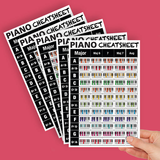 Large Piano Chords Cheatsheets (Pack of 5)