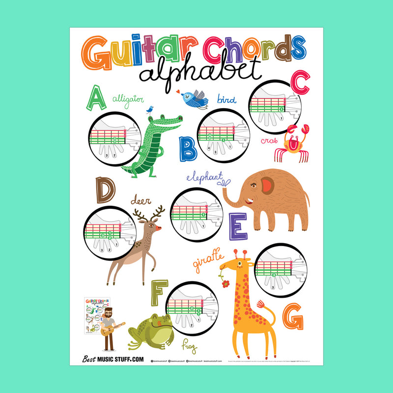"Guitar Chords Alphabet Kids Poster 19""x27"" with Easy Guitar Method Songbook"