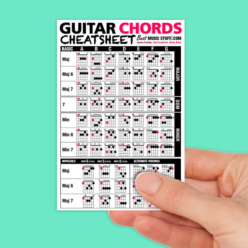 "Guitar Chords Cheatsheet Pocket Reference (Laminated & Double Sided) 4""x6"""