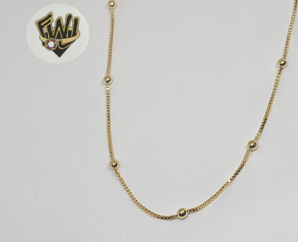 (1-1579) Gold Laminate -2.5mm Beads Box Link Chain - BGF