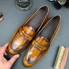 Tan Patina Penny Loafers
