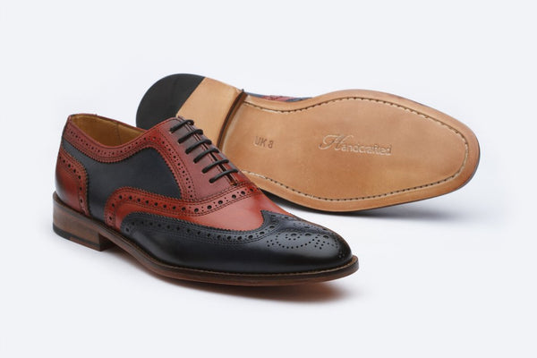 Custom Made Wingtip Oxford Navy and Red