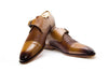Monk Strap - Single strap with Braided leather and Cap Toe in Tan