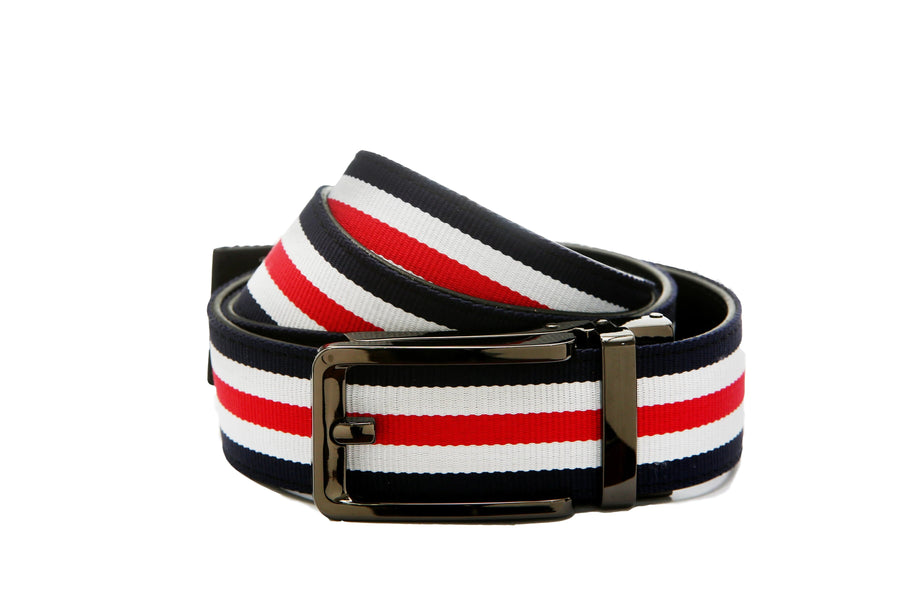 1.5 Canvas Blue White Red Strap and Modern Nikel