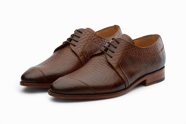 Toe Cap Derby - Crocodile Brown