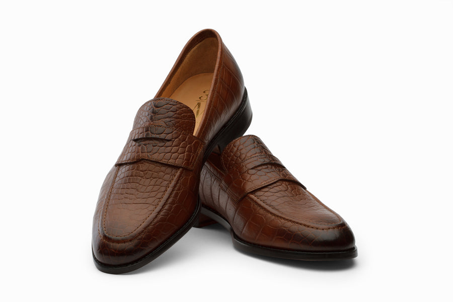 Penny Loafer Shoes- Crocodile Brown