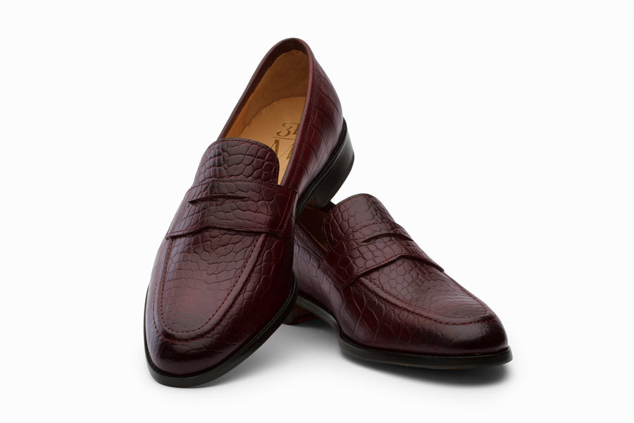 Penny Loafer Shoes- Crocodile Burgundy