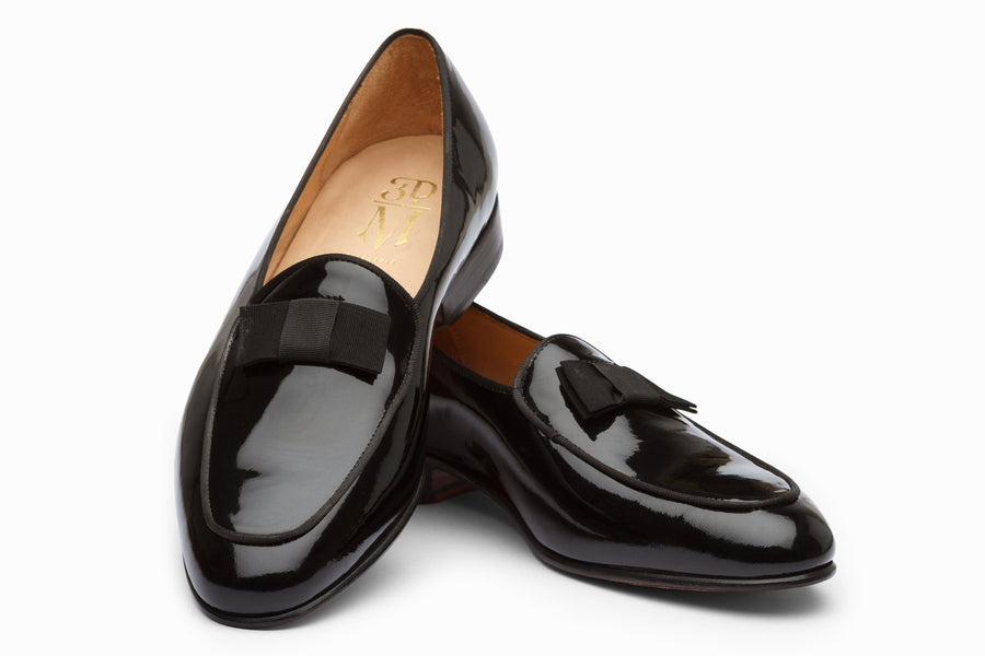 Formal Pumps with Grosgrain Bow - Patent Black