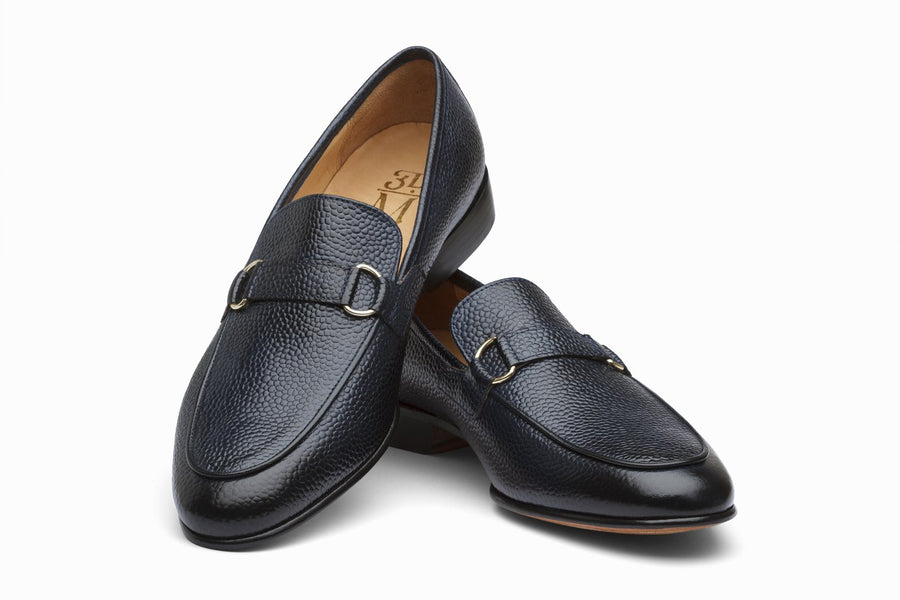 Lorenzo Leather Loafers - Navy Grain