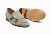 Double Monkstrap Belgian Loafer - Beige Suede