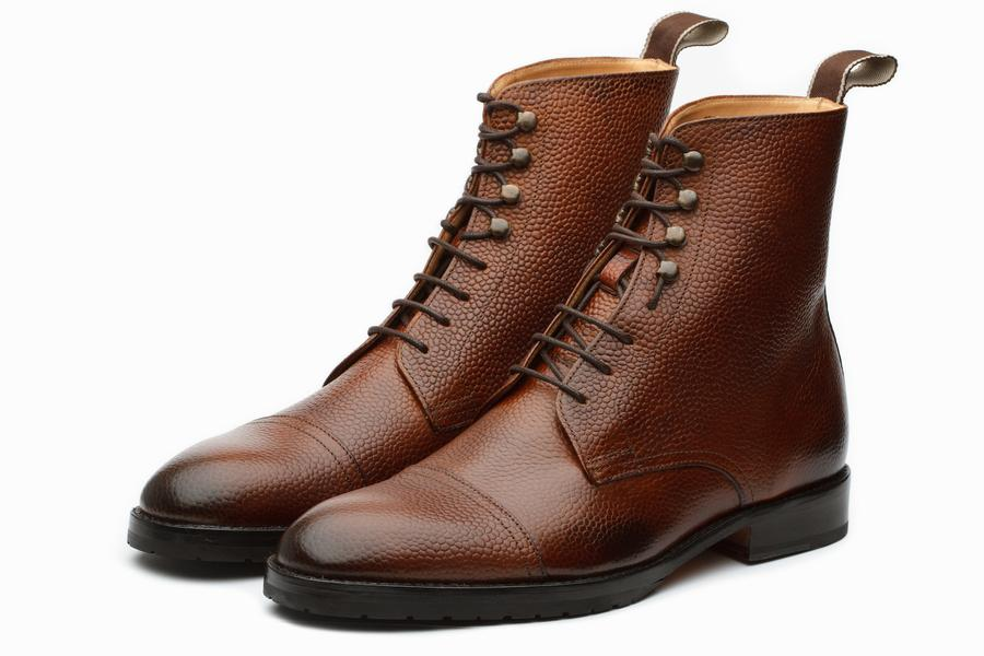 Grain Leather Jumper Boots - Brown