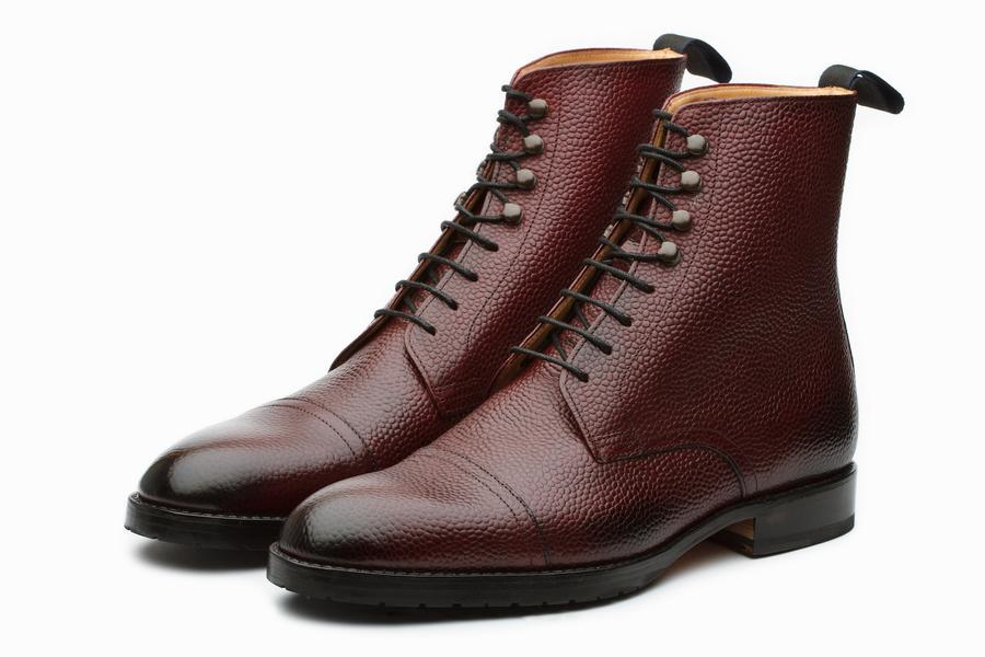 Grain Leather Jumper Boots - Burgundy