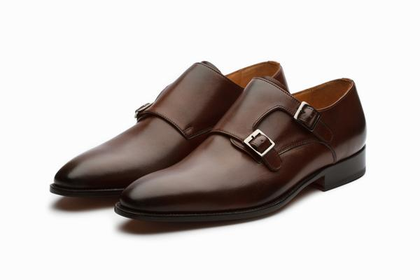 Plain Toe Double Monk Shoes- Brown