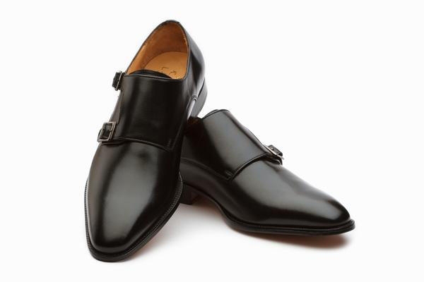 71a4081f1dec6 Plain Toe Double Monk Shoes- Black