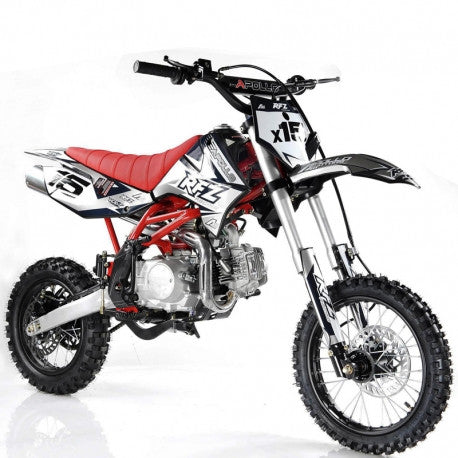 "Apollo DB-X15 125cc Dirt Bike,4 Speed Manual Transmission,Front/Rear Big 14""/12''Tires, Kick start"