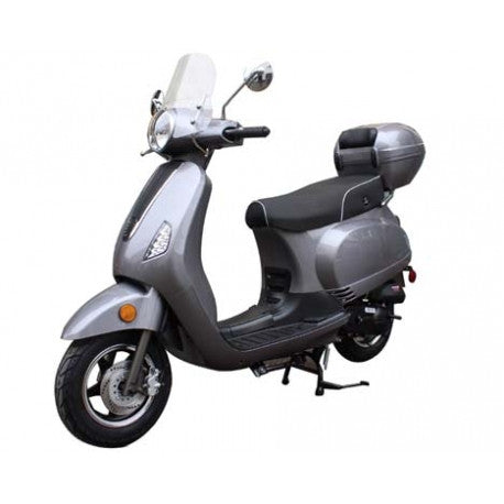 "MC-130-150 150cc Sports Moped Scooter with 10"" Wheels, Rear Trunk with Windshield, Fully Assembled!"