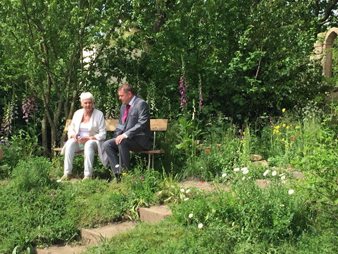 Dame Judi Dench and Welcome to Yorkshire's Gary Verity in the garden
