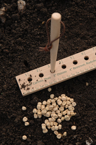 A planting ruler helps with spacing
