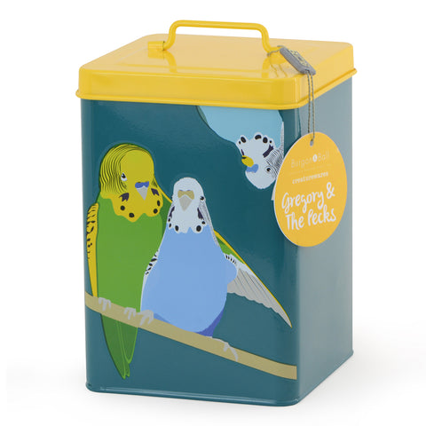 """Gregory & The Pecks"" Budgie Tin"