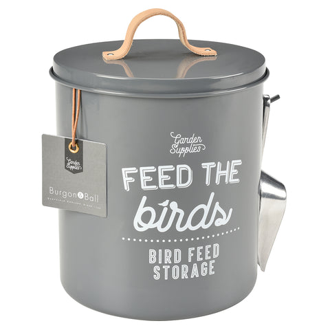 'Feed the Birds' Bird Food Tin - Charcoal