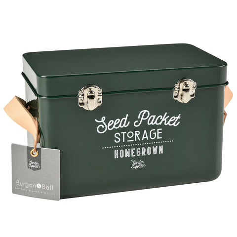 Leather Handled Seed Packet Storage Tin - Frog