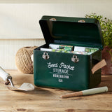 Seed packet storage tin with leather handles by Burgon & Ball - frog