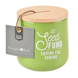 'Seed Fund' money box by Burgon & Ball, gooseberry green