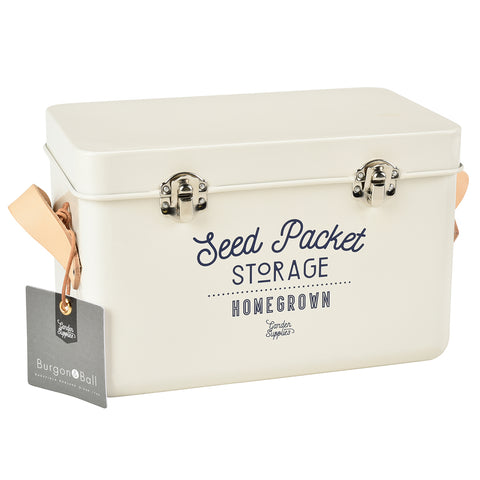 Seed packet storage tin with leather handles by Burgon & Ball - stone