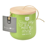 Twine dispenser with 120m jute twine by Burgon & Ball - gooseberry green