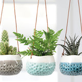 Trio of 'Baby Dotty' hanging pots by Burgon & Ball, indoor plant pots