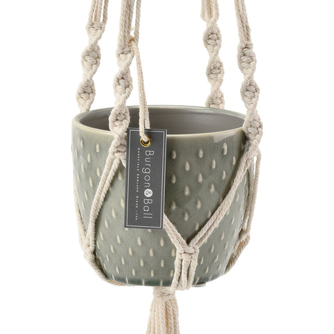 Macramé hanging plant pot by Burgon & Ball, indoor plant pot