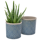 Porto dark blue glazed indoor plant pot by Burgon & Ball (large)