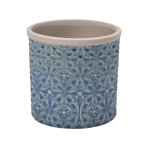 Porto dark blue glazed indoor plant pot by Burgon & Ball (small)