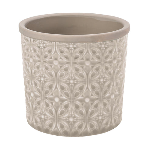 Porto grey glazed indoor plant pot by Burgon & Ball