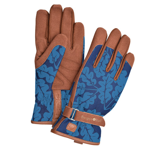 'Love The Glove' Oak Leaf ladies' gardening glove in Navy by Burgon & Ball