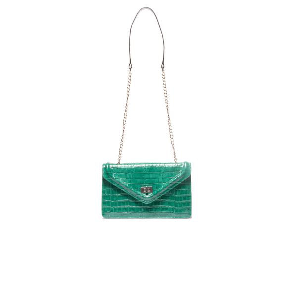Amandine Green Croco Shoulder Bags