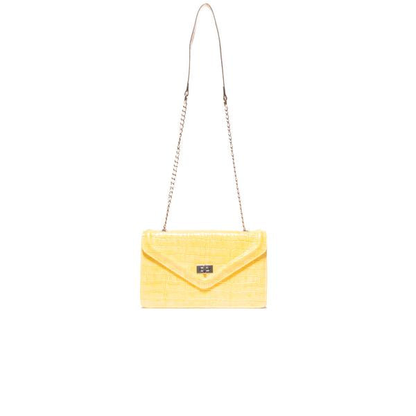 Amandine Yellow Croco Shoulder Bags