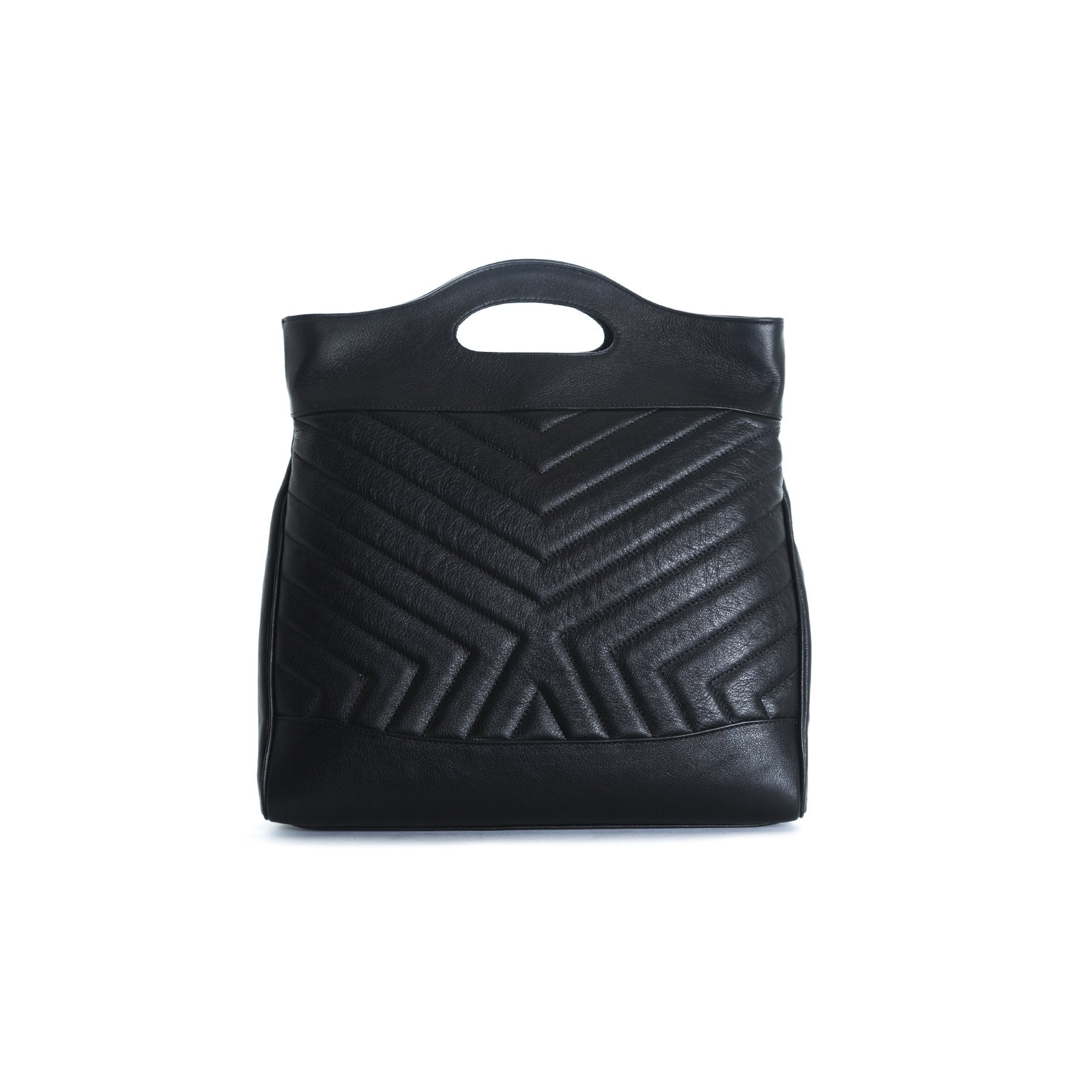 Alexi Black Leather Tote Bags