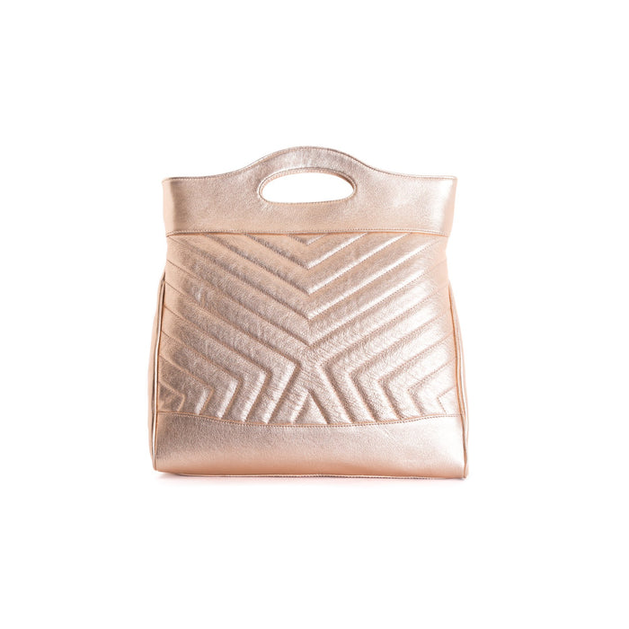Alexi Rose Gold Leather Tote Bags