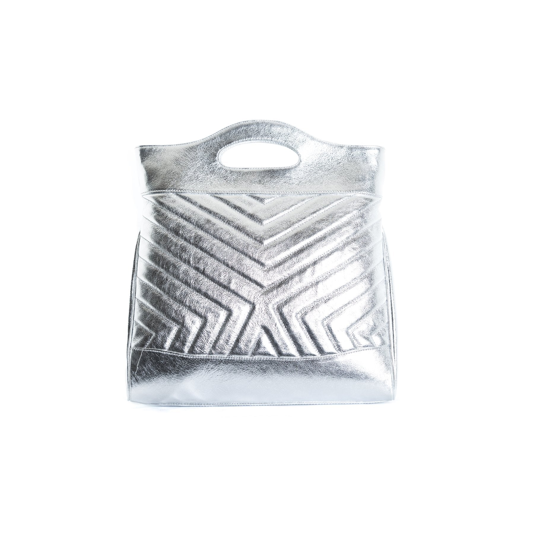 Alexi Silver Leather Tote Bags