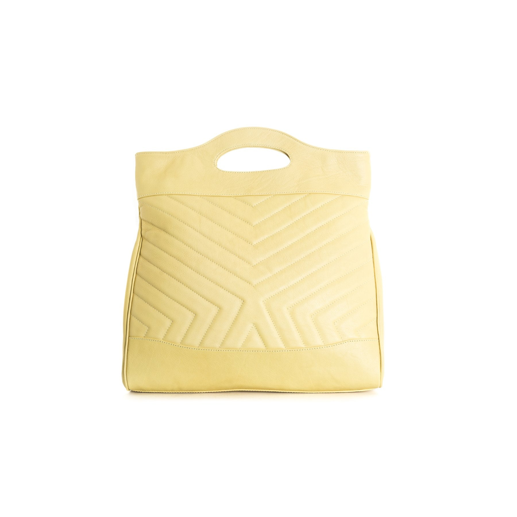 Alexi Yellow Leather Tote Bags