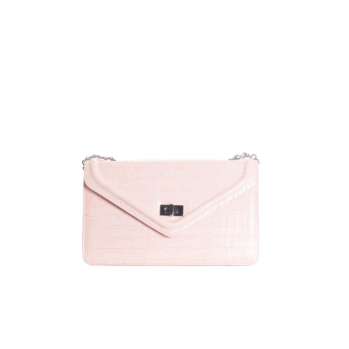 Amandine Pink Croco Shoulder Bags